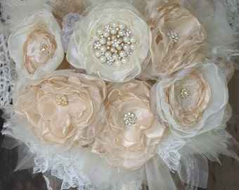 Bridal Brooch Bouquet,Fabric Flower Bouquet, Gold Champagne Bouquet, wedding flowers, fabric bouquet, bride bouquet