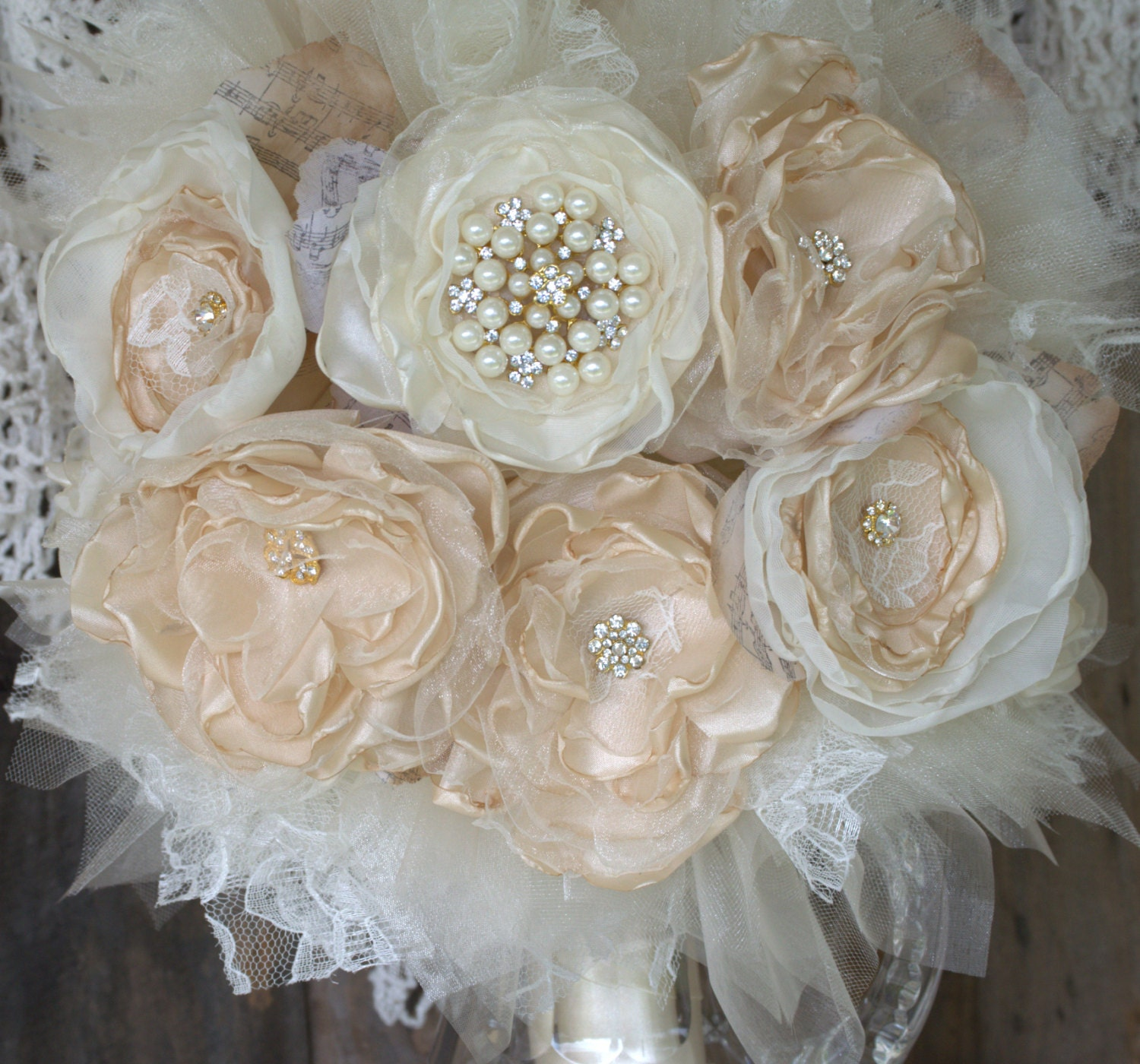 Bridal Brooch BouquetFabric Flower Bouquet Gold Champagne