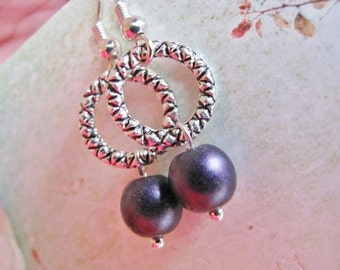 Purple Pearl and Silver Dangle Earrings, Dainty Dark Purple Faux Czech Pearl Earrings