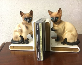 Pair vintage Lefton china Siamese cat bookends ... We are Siamese if you please ... Moddities