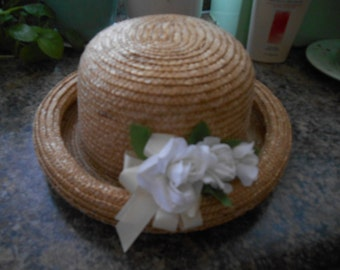Vintage Round Straw Hat for Older Girls or Ladies
