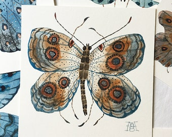 Butterfly AIN, miniature small watercolor painting