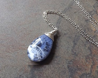 Blue Sodalite Necklace Gemstone Necklace Sterling Silver Wire Wrap Pendant, eco friendly Gift idea, OOAK