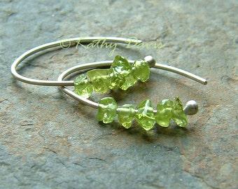 Silver Hoop Earrings Peridot Tiny Open Hoops Sterling Silver Hoop Earrings eco friendly birthstone jewelry gift for Women