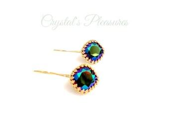 Gold Crown  Bezel Scarabaeus Green Swarovski Crystal Element Earrings