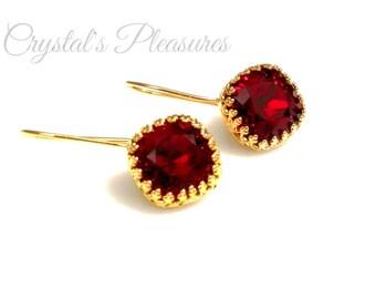 Gold Crown Bezel Crystal Red Lt Siam Swarovski Crystal Element Earrings