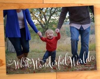 Christmas Card, Photo card, Calligraphy, Wonderful World, Snow, Custom cards, Modern Photo card, Printable, christmas photo cards