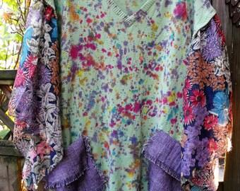 Free Size Junked, Splattered, Ragged, Splashy, Fringed Tunic/  Confetti Plus Size Top/ Upcycled, Recycled, Cotton Knit Tunic/ Shabbyfab Fun