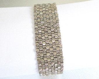 silver bead bracelet beaded jewelry seed bead cuff