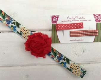 Headband and Alligator Clip Set- Tropical Floral and Red Gingham and Polka Dot