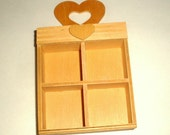 Vintage Shadow Box, Hearts, Unfinished Wood, Small, Self Standing, Knick Knack Display Shelf, New Old Stock, Made in Taiwan  (222-16)