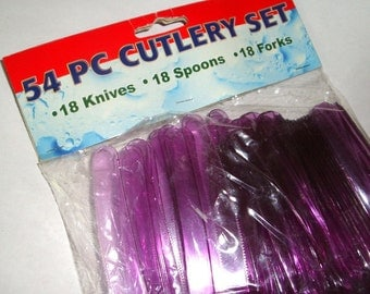 54 Piece Cutlery Set, Purple Plastic Picnic Forks, Spoons, Knives, Retro Party Supplies, New Old Stock, Unopened Package  (10-16)