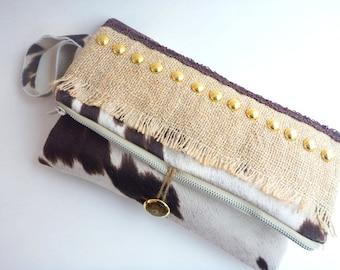 burlap clutch, boho chic clutch, vegan cowhide foldover clutch, western clutch, western handbag, western wedding, cowgirl bag, tablet bag