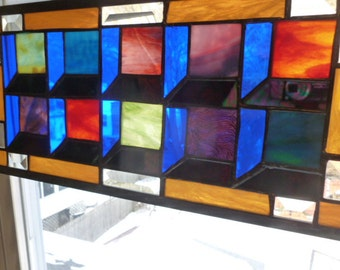 10 box Shadow Illusion quilt Panel in Stained Glass bevels too