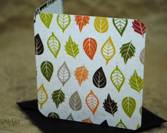 Blank Mini Card Set of 10, Mini Falling Leaves with Contrasting Pattern on the Inside, Dark Brown Envelopes, mad4plaid