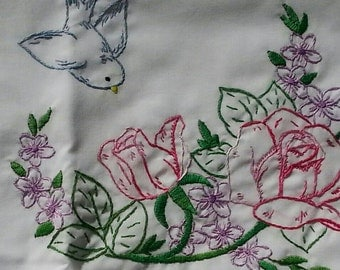 Sew Pretty Pillowcases - Bluebirds and Pink Roses - Set of 2