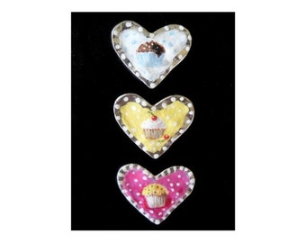 Refrigerator Magnets / Cupcake  Hearts / Set of THREE / Hand Painted / One Of A Kind Kitchen Decor