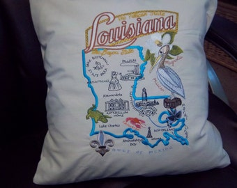 Embroidered State Map Pillow Louisiana