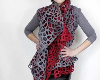 womens vest, midi vest, wool vest, wearableart, summer vest, lace vest, asymetrical top, asymetrical tunic, felt vest, sleevless vest, tunic