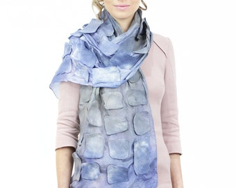 Felted scarf, scarf, hand painted, dyed, silk, wool, women, gift, art, designer, 3d, texture, kate ramsey, tile, square