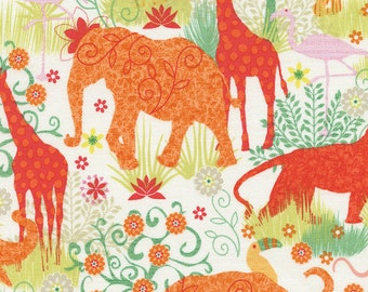 Safari Animals fabric | Boho Safari | Gail Cadden Gail-C4311-Cream | Cotton Quilting fabric
