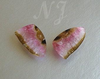 Watermelon Pink Tourmaline Slices 25x15x2mm