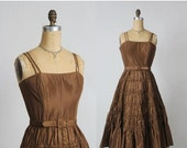 ON SALE Taffeta Dress in Brown with Ruching