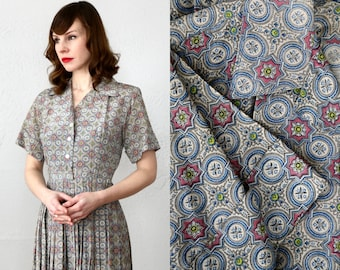 SALE- Folk Print Dress . 1960s Shirtwaist