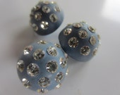 Vintage Buttons -  beautiful lot of 3, Rays design rhinestones blue celluloid (oct 129)