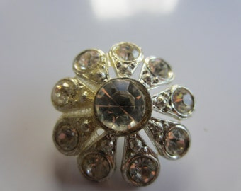 Vintage Button -  1 extra large beautiful flower design,antique finish metal, rhinestone embellished, 1950's (lot jan 196b)