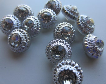 Vintage Buttons - 12 beautiful matching smalL glass and rhinestone design, silver finish painted finish, Czechoslovakia  (feb 402b)