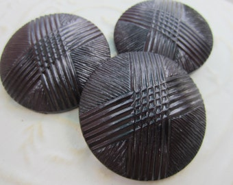 Vintage Buttons - 1960's  extra large matching novelty, black coat buttons, old and sweet,  (apr 5b)