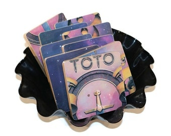 Toto handcrafted wood coasters and wacky vinyl record bowl from recycled 1978 music album