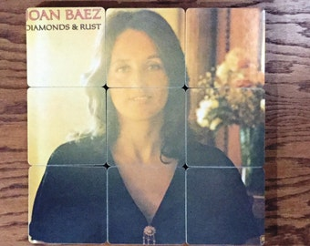 Joan Baez recycled Diamonds & Rust music album cover wood coasters with warped record bowl