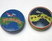 Two Vintage Round Collectible Panama Typewriter Ribbon Tins