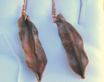 Canemah Studios Flame Painted Copper Fold Formed Leaf Earrings