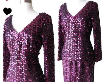 Lilli Diamond Vintage 70s 80s Sequin Skirt Set Top 2 Piece Glam Fuchsia Magenta Purple Pink Black Lurex Metallic Mini Dress Skirt