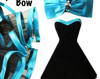 Vintage 80s 90s Black Velvet Party Dress M Turquoise Aqua Blue Back Big Bow Prom Full Skirt Strapless Glam Crinoline