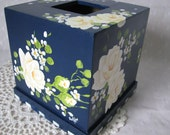 Tissue Box Cover Holder Hand Painted Yellow Roses Wood Home Decor