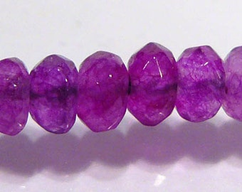Litght Purple Jade Faceted Rondelle Gemstone Beads... 10 Beads....4mm