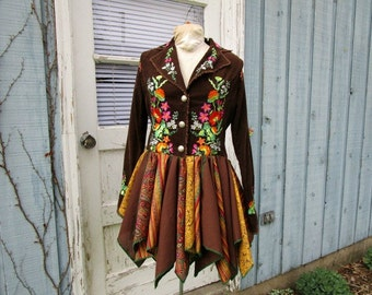 RESERVED Balance// Woodland Embroidered Floral Bohemian Pixie Jacket Coat// Upcycled Reconstructed// emmevielle