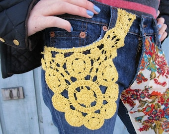 XSmall Boho Hippie Festival Upcycled Bootcut Blue Jeans// size 2// Multi Colored// emmevielle