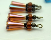 Old World Vintage Style Burnt Orange Teardrop and Czech Bead Dangle Charm Drop Set