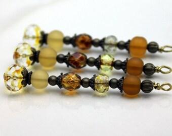 Vintage Style Autumn Fall Brown Golden Czech Crystal Bead Dangle, Charm, Pendant, Drop Set