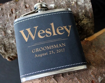 Flask | Customizable Black FULL NAME design, multiple quantities for groomsman gift