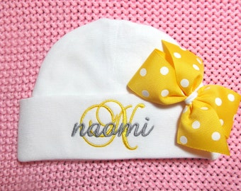 Baby Girl Clothes Personalized Baby Girls Clothing Beanie Hat with Bow Embroidered Monogram Baby Shower Gift Coming Home Outfit New Baby