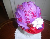 Girls Mini Top Hat, Fascinator, Red Hat Ladies, Handcrafted,Purple Red Hat, Birthday hat,tea party,Prom Hairpeice, Bridesmaid hairpeice