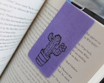 Cactus Magnetic Bookmark, Pink or Purple Fabric