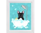 91D - Bath Print - Black French Bulldog in Bubble Bath Wall Art - French Bulldog Print - Bathroom Wall Art - Bath Art - Dog Print - Dog Art