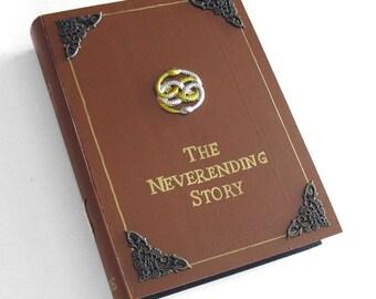Hidden safe box, hollow book - The Neverending Story -  wooden hideaway book box.  Secret drawer.
